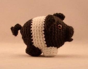 Pig Amigurumi, Handmade, Crochet, Black and White Pig, Amigurumi, Corkscrew Tail Pig, Stuffed Animal Pig, Plushy Pig Toy