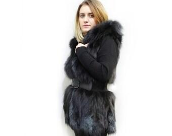 Real Fox Fur Vest,Hooded Vest,Fox Fur Pieces Vest F496