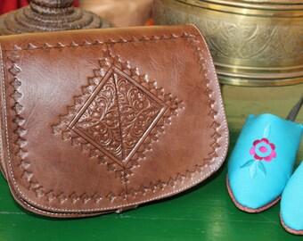 Brown Leather Bag, Moroccan Leather Bag, Handtooled Leather Bag, Cross Body Leather Bag,Almond Brown Handbag, Leather Boho Bag, Shoulder Bag
