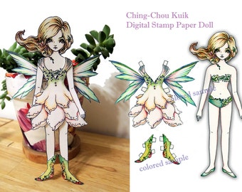 Paper Doll Digital Stamp - Forest Elf - Digital Stamp Instant Download /  Flower Girl Fantasy Art by Ching-Chou Kuik