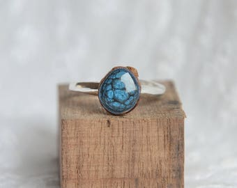 One of a kind ring, unique irregular gem ring, magic mystic ring, sterling silver unique rings, recycled wood hand painted ring