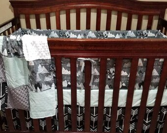 Adventure Boy Crib Bedding- Adventure Awaits, Black Arrow, Mint Wood Grain, White Minky, and Gray Minky Crib Bedding Ensemble
