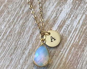 opalite necklace , Mothers Day personalized necklace for grandma, custom initial necklace, October birthstone necklace, birthstone jewelry
