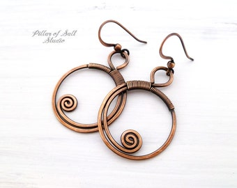 Copper Wire wrapped earrings - Solid copper earrings - wire wrapped jewelry handmade - copper boho jewelry - 7th anniversary gift