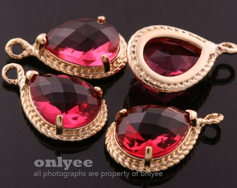 2pcs-19mmX12mmGold Faceted tear drop glass with rope rim pendants-Ruby(M316G-F)