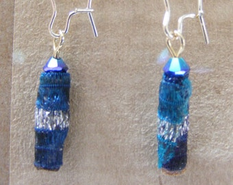 Earrings Fiber Beads blue and sliver with silver plated findings