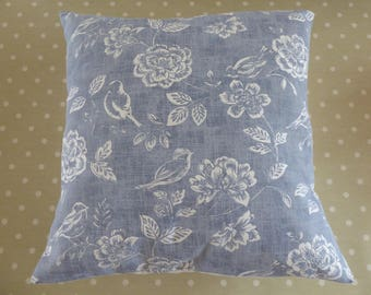 Blue bird and flower cushion cover