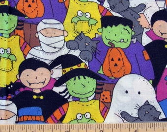 Fat Quarter Halloween Fabric Happy Haunting Ghost Vampire Monster Mummy Witch Scarecrow Allover - Tammy DeYoung/General Fabrics - OOP