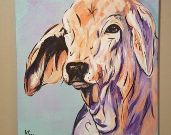 16x20 inch Brahman cow acrylic painting- original