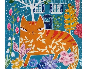 An orange cat - original painting - illustration