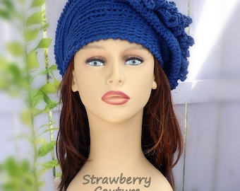 50th Birthday Gift for Women, Cloche Hat Crochet Hat Womens Hat, Steampunk Hat Womens Mad Hatter Hat, Linda Royal Blue Hat