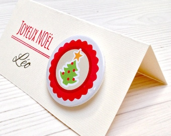 Place card name + badge personalized holiday table