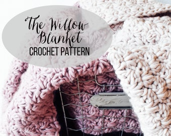 PATTERN: The Willow || Beginner Block Color Chunky Crochet Wool Blanket Pattern