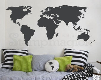 World map wall decal countries border wall art sticker world map wall decal world map decal vinyl wall art mural chalkboard white gumiabroncs Images
