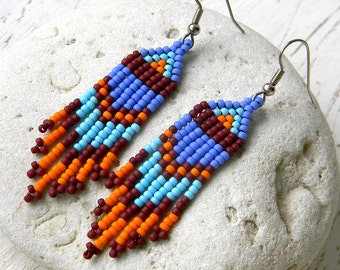 Seed bead dangle earrings for women  Hippie earrings Long beaded earrings for girls Seed bead earrings Colorful earrings Cute beaded jewelry