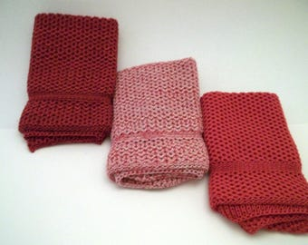 Dishcloths Knit in Cotton in Wildflower, Chestnut/Apple Red/Wildflower and Cherry/Pink/Mother of Pearl, Knit Dishcloth, Knit Washcloth