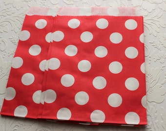Red Polka Dot Paper Bag- Gift Bag, Party Favor, Party Supply, Shop Supply, Treat Bag, Merchandise Bags