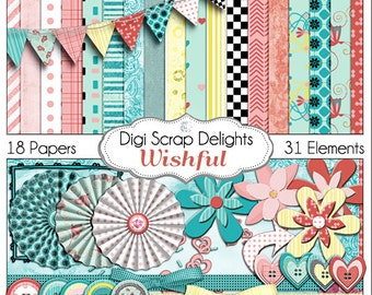 Wishful Digital Scrapbook Kit in Lovely Turquoise Blue,  Pink & Yellow -  Bible journaling Digitally