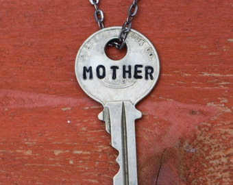 "Hand Stamped Vintage Key ""MOTHER"" Necklace (#429) - Jewelry Necklace Pendant Custom"
