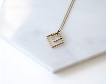 Two Squares Pendant Necklace. Minimal Geometric Jewelry Under 50. Mother and Daughter. Geometry and Math Teacher Gift. Sisters Necklace.
