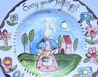Handpainted Ceramic Plate , Gift for child, Child Decor,Bunny Plate, Bunny Plate