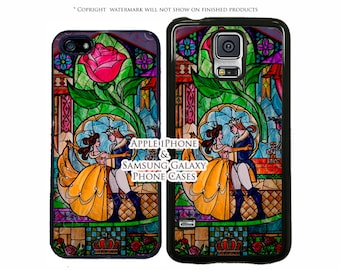 Disney Beauty and The Beast Stained Glass Dance Phone Case For Samsung Galaxy S8, S8 Plus, S7, S7 Edge, iPhone 7, 7 Plus, iPhone X, iPhone 8