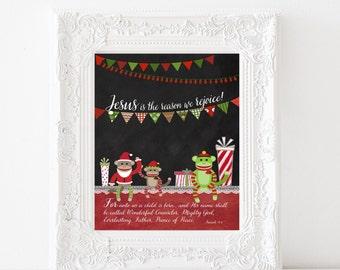 Christmas Print - Sock Monkeys - Isaiah 9:6