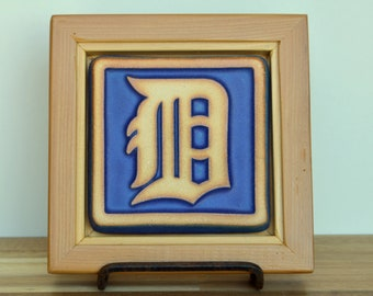Reclaimed Wooden Framed Pewabic Pottery  Old English D Tile   6404 Woodward Ave