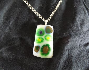 Green Popping Flowers Fused Glass Pendant - Green, White, Yellow