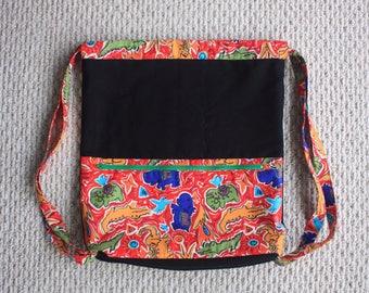 Black safari print drawstring backpack