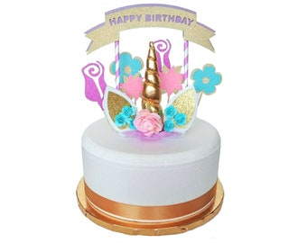 Rainbow Unicorn Cake Topper Kit Set ~ Birthday Party Supplies ~ Cake and Stand Not Included!