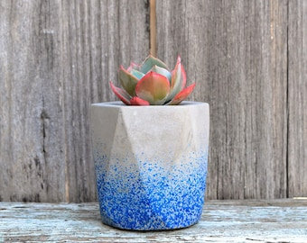 Blue Speckled Geometric Concrete Planter