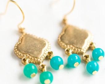 Little Turquoise Chandeliers, Small Gemstone Earrings, Little Boho Turquoise Earrings, Bohemian Earrings, Hippie Earrings,