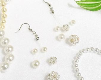 Pearl Earrings, Dangle earrings, Pearl Ball Earrings, Beaded Ball Earrings