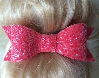 Strawberry Sundae Red Handmade Chunky Glitter Sparkly Hair Bow Clip or Headband