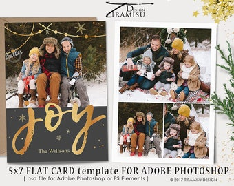 Christmas Card Template, Holiday Photo Card PhotoshopTemplate, Black and Gold Christmas Card Template, 5x7in, sku xm17-3