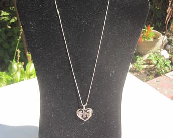 Sterling Winged Angel Heart with Red Stone
