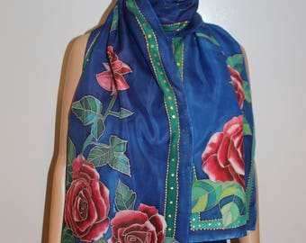 Hand painted silk scarf,Red roses,Long blue scarf,Large wrap,Red blue gold green colors,Luxury gift for her,Flowers leaves,Floral scarf