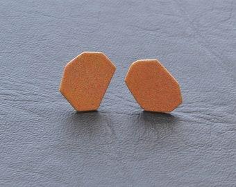 peachy orange geometric stud earrings, modern, minimalist style, simple studs, basic fashion, summer colour, pastel jewelry, futuristic