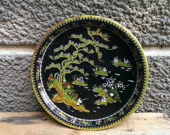 Vintage Metal Tray, Black Tray with Chinese Decoration, Rustic Kitchen Decor, Gift Idea