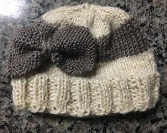 Girl Knitt Bow Hat (infant)