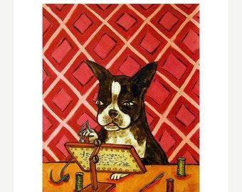 25% off Boston Terrier Doing Needlepoint Dog Art Print