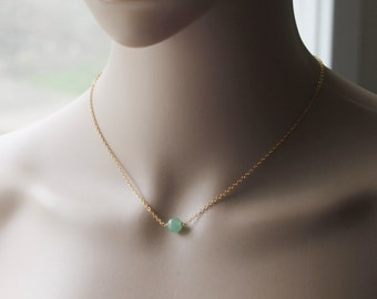 8mm Natural Green Aventurine necklace, Floating green stone necklace, gold gemstone necklace, Green bead necklace, Rose Gold necklace