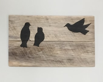Birds on a Wire, Hand Painted on Reclaimed Pallet Wood