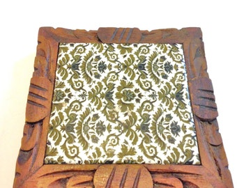 Mexican Tile Tray // Tile Trivet // Vintage Mexicao //  Mexcian carved Wood