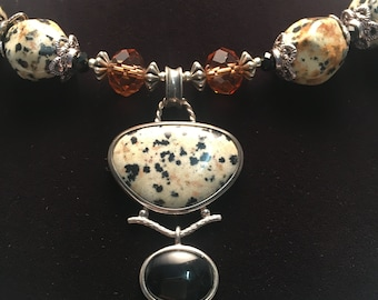 Dalmatian Jasper and Black Onyx necklace and earrings set