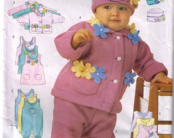 Butterick 6280, 90s sewing pattern, size NB-M baby jacket pattern, overalls, baby hat
