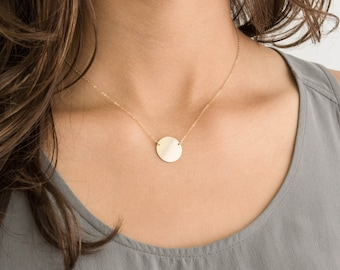 Circle Necklace Disk w Initial or Blank • Large Suspended Disc Necklace • Coin Necklace, 14k Gold Fill, Sterling Silver, Rose Gold • LN216_H