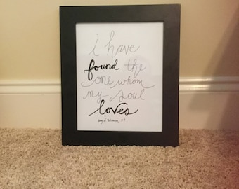 8x10 framed hand lettered sign