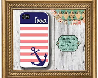 Preppy Anchor iPhone Case, Personalized iPhone Case, Nautical iPhone Case, iPhone X, iPhone 8, 8 Plus, iPhone 7, 7 Plus, iPhone 6s, 6 Plus